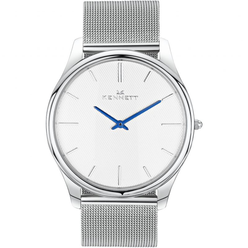 Mens Kennett Kensington Silver White Milanese Watch