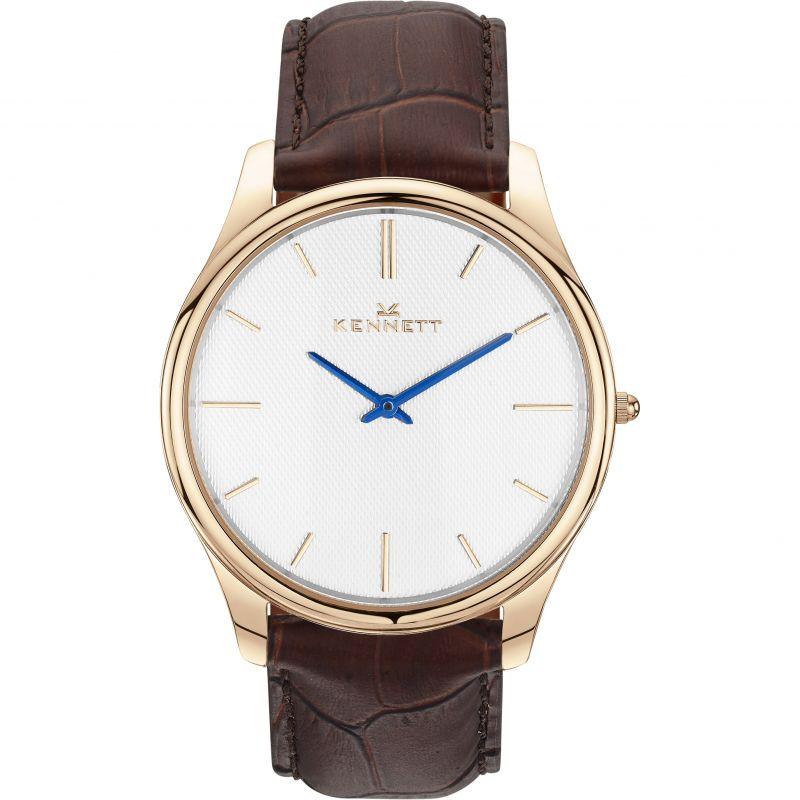 Mens Kennett Kensington Rose Gold White Dark Brown Watch