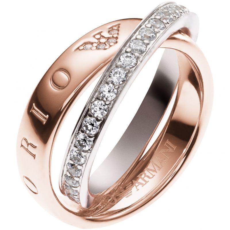 Ladies Emporio Armani Sterling Silver Size K Pure Eagle Circles Ring