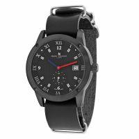 Herren Smart Turnout Town Uhr with Schwarz Leder Nato Armband Uhr