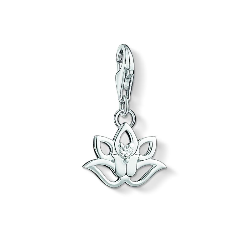 Ladies Thomas Sabo Sterling Silver Charm Club Lotus Charm 1300-051-14