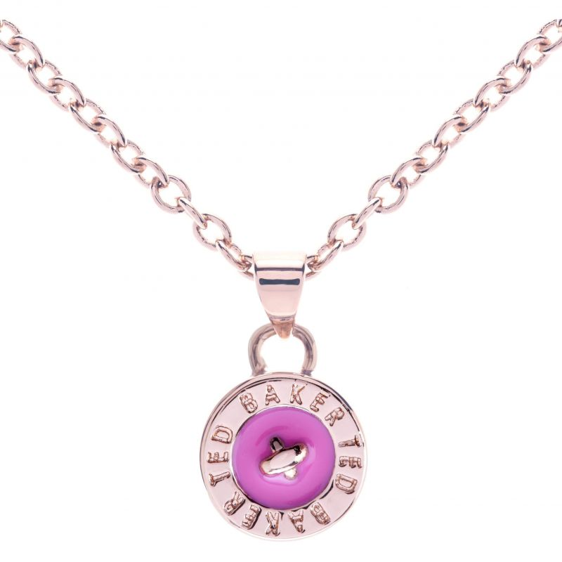 Ladies Ted Baker PVD rose plating Tella Enamel Button Pendant Necklace TBJ1043-24-73