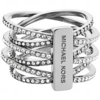 Ladies Michael Kors PVD Silver Plated Size M.5 Statement Crossover Ring Size L.5 MKJ4423040505