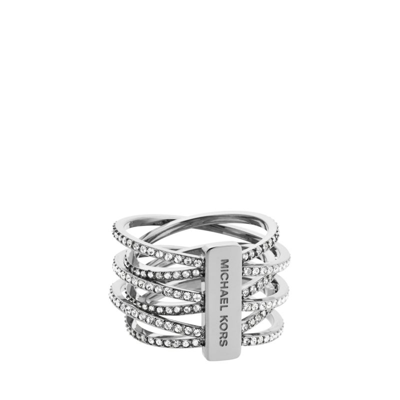 Ladies Michael Kors PVD Silver Plated Size P Statement Crossover Ring