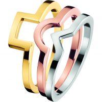 Damen Calvin Klein zweifarbig Stahl/vergoldet Größe P Wonder Ring