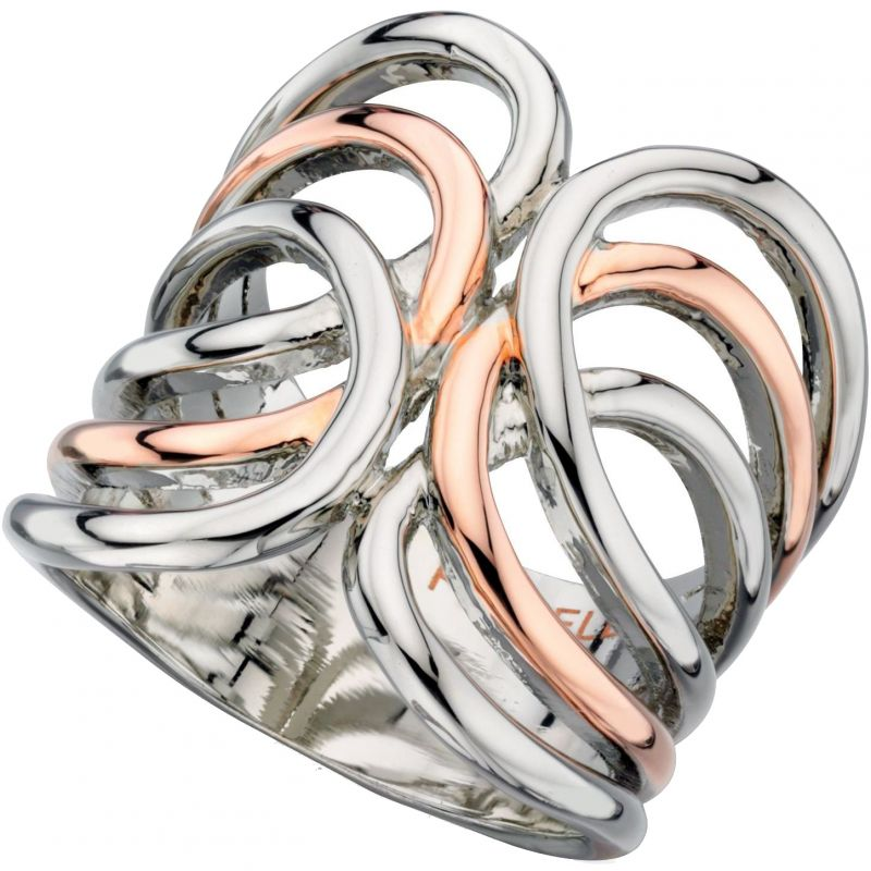 Ladies Fiorelli Two-Tone Steel and Rose Plate Size L Ring R3333S