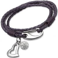 Ladies Unique Stainless Steel Leather Bracelet B155BE/19CM