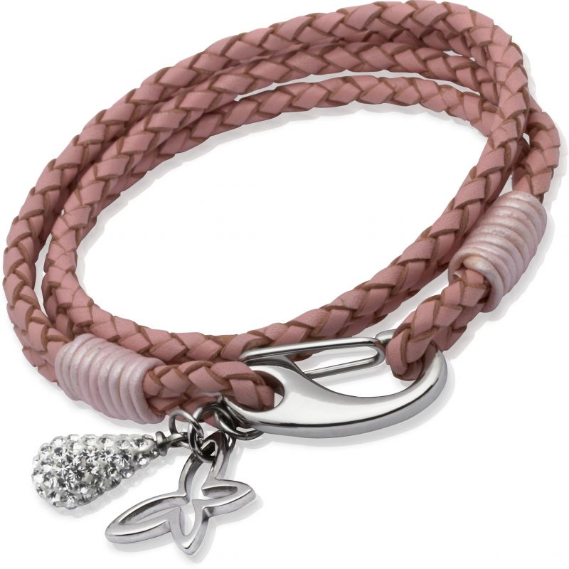 Ladies Unique & Co Stainless Steel Leather Bracelet B158PI/19CM