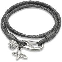 Ladies Unique & Co Stainless Steel Leather Bracelet