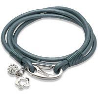 Ladies Unique Stainless Steel Leather Bracelet B215TT/19CM