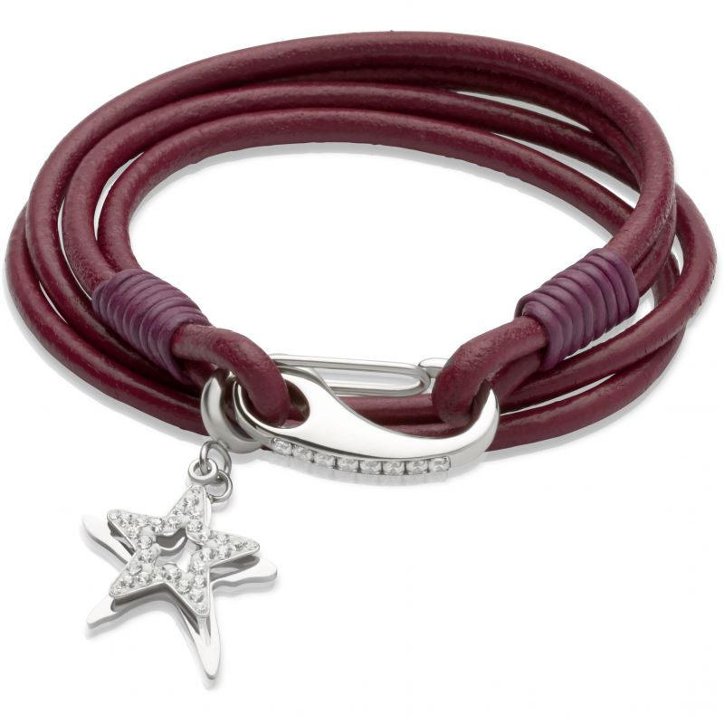 Ladies Unique & Co Stainless Steel Leather Bracelet B257CY/19CM