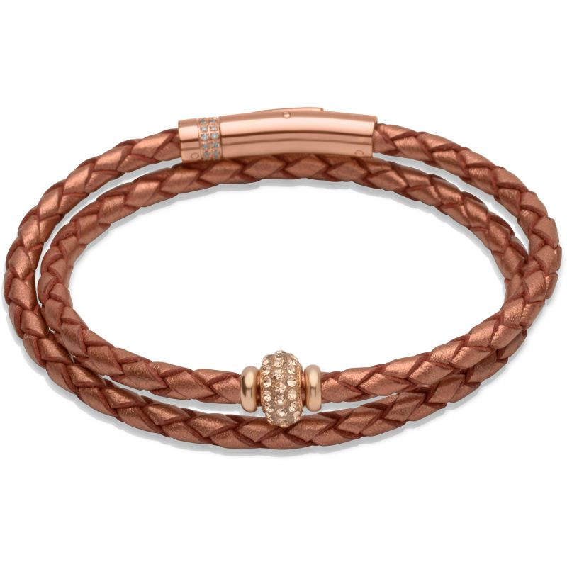 Ladies Unique & Co PVD rose plating Leather Bracelet B269CO/19CM