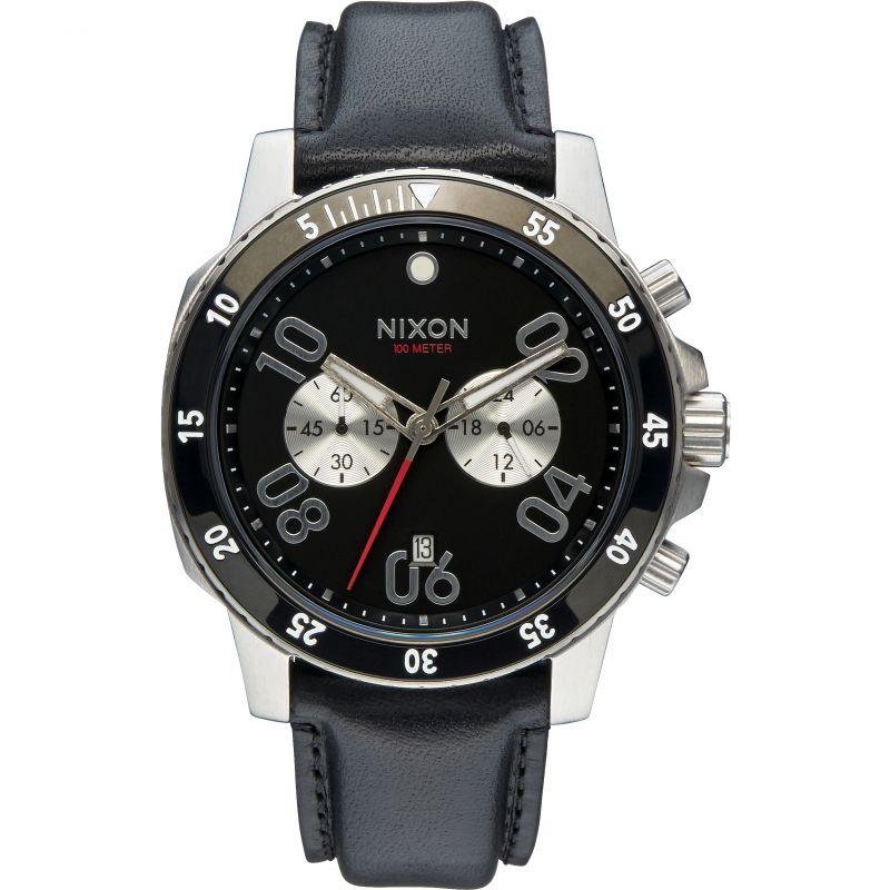 Mens Nixon The Ranger Leather Chronograph Watch