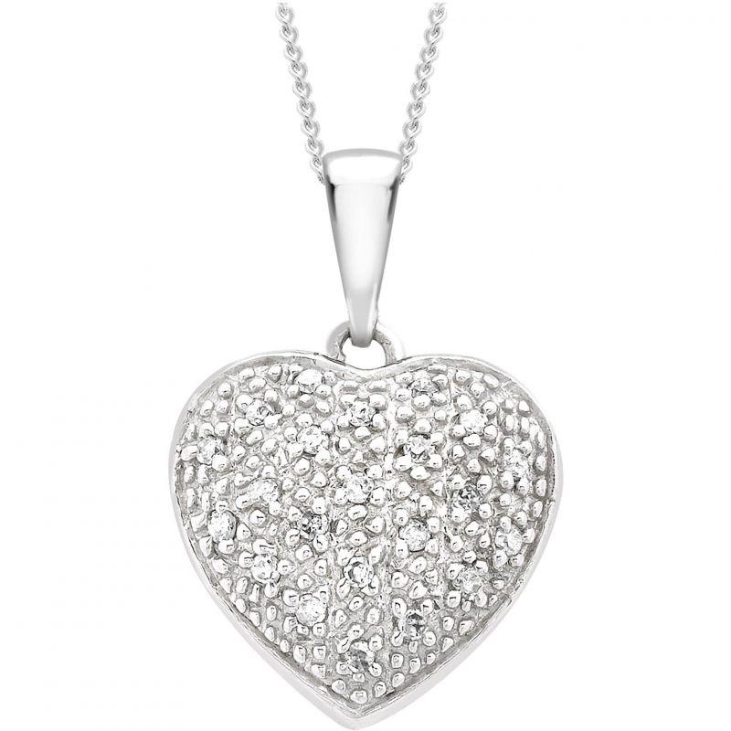 Ladies Essentials 9ct White Gold Diamond Heart Pendant