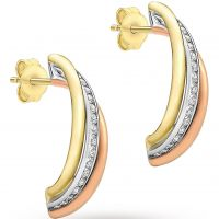 Damen Essentials 9ct Gold Drei Farbe würfelförmig Zirconia Ohrringe