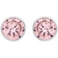 Damen Essentials 9ct Weißgold Pink würfelförmig Zirconia Stud Ohrringe