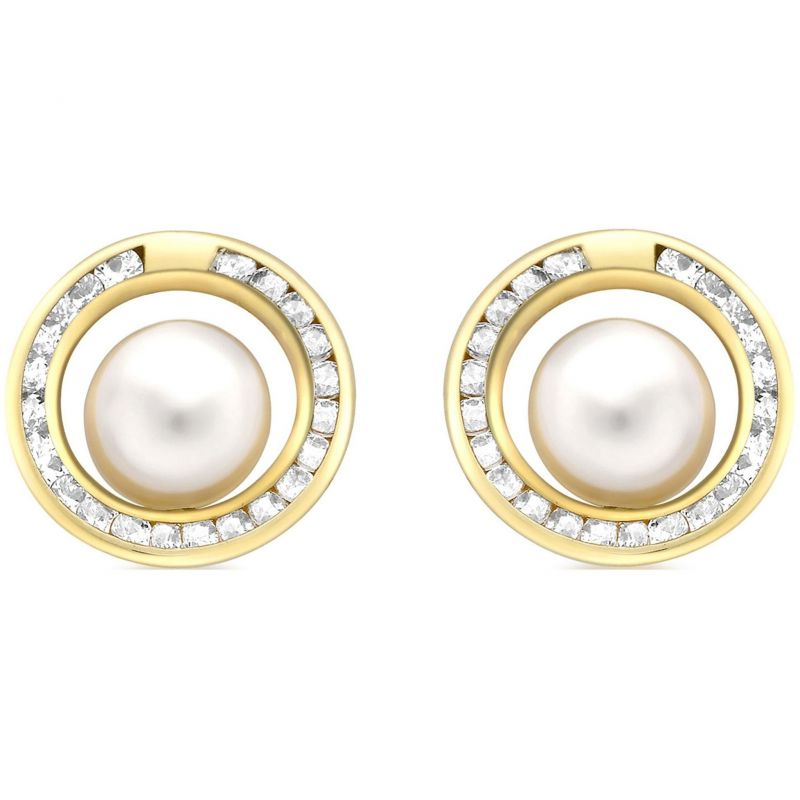 Ladies Essentials 9ct Gold Pearl and Cubic Zirconia Stud Earrings AJ-15040203