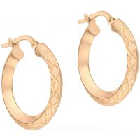 Ladies Essentials 9ct Rose Gold Diamond Cut Hoop Earrings