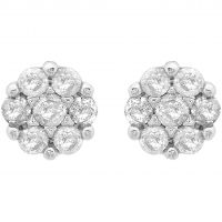 Damen Essentials 9ct Weißgold 0.10ct Diamant Cluster Stud Ohrringe