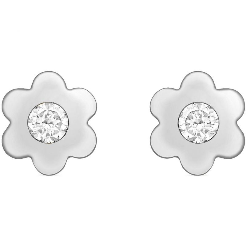 Ladies Essentials 9ct White Gold Cubic Zirconia Flower Stud Earrings AJ-15040275
