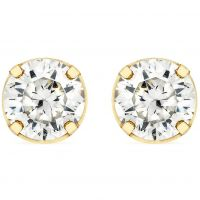 Damen Essentials 9ct Gold 4mm würfelförmig Zirconia Stud Ohrringe