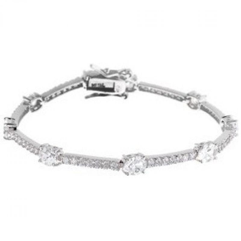 Ladies Essentials Sterling Silver Cubic Zirconia Bracelet AJ-37230267