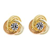 Ladies Essentials Multi colour gold Cubic Zirconia Knot Stud Earrings