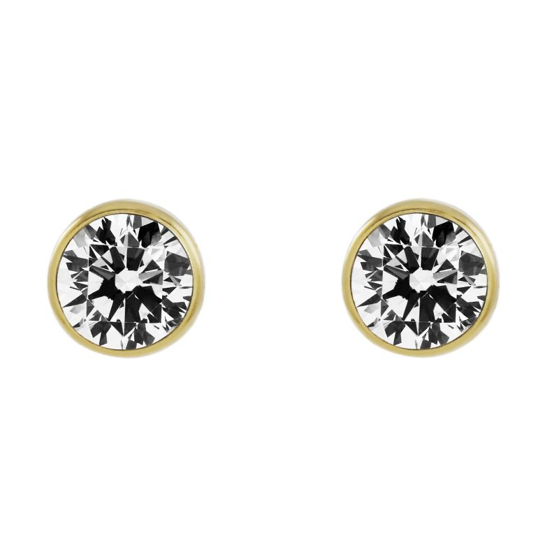 Ladies Essentials 9ct Gold 5mm Cubic Zirconia Rubover Stud Earrings AJ-15043930