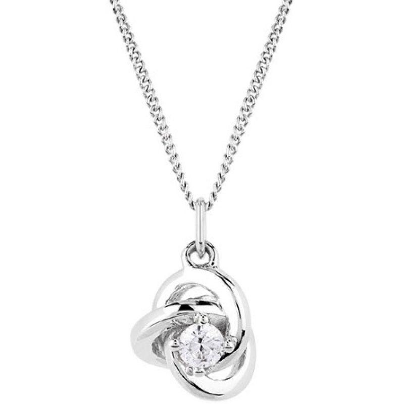 Ladies Essentials 9ct White Gold Cubic Zirconia Knot Pendant AJ-14410135