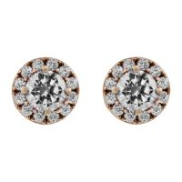 Ladies Essentials 9ct Rose Gold Cubic Zirconia Halo Studs