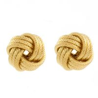 Ladies Essentials Sterling Silver Gold Plated Frost Love Knot Earrings