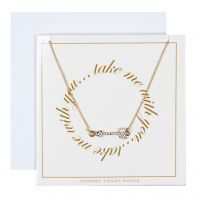 Ladies Johnny Loves Rosie Base metal Take Me With You Arrow Necklace Gift Card