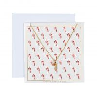 Ladies Johnny Loves Rosie Base metal Candy Cane Necklace Gift Card