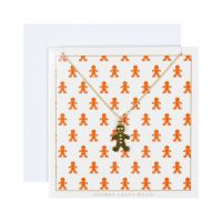 Johnny Loves Rosie Dames Gingerbread Man Necklace Gift Card Basismetaal JLR-XMAS-CARD-GBREAD