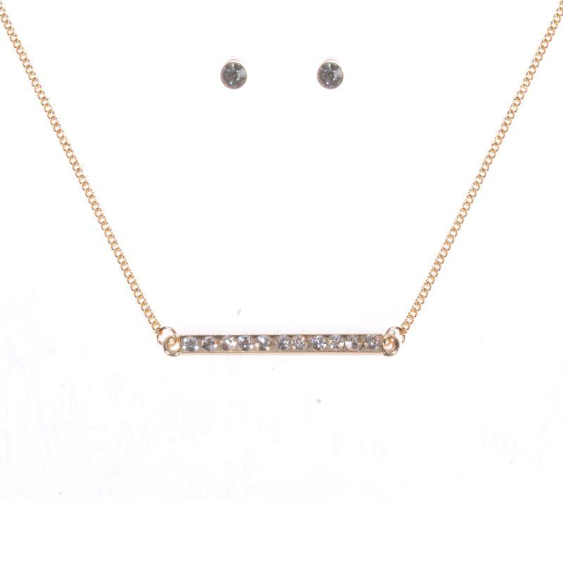 Ladies Johnny Loves Rosie Base metal Rhinestone Studs and Necklace Gift Set JLR-PYRAMID-STRIPE