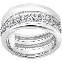 Damen Swarovski Rhodium Plated Größe O Exact Ring 55