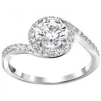 Ladies Swarovski Rhodium Plated Size Q Attract Light Ring 58 5221409