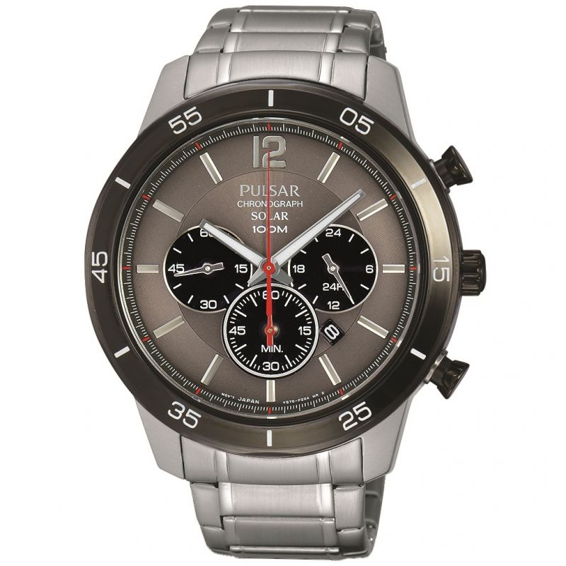 Mens Pulsar Chronograph Solar Powered Watch PX5045X1