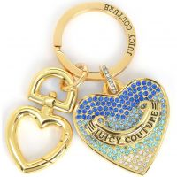 Ladies Juicy Couture PVD Gold plated Blue Pave Heart Keyfob