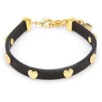 Juicy Couture Dames Layered In Couture Heart Leather Bracelet PVD verguld Goud WJW734-001