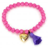 Juicy Couture Dames Heart & Tassel Beaded Bracelet PVD verguld Goud GJW35-673