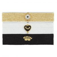 Ladies Juicy Couture PVD Gold plated Flat Charmy Elastics Hair Elastics
