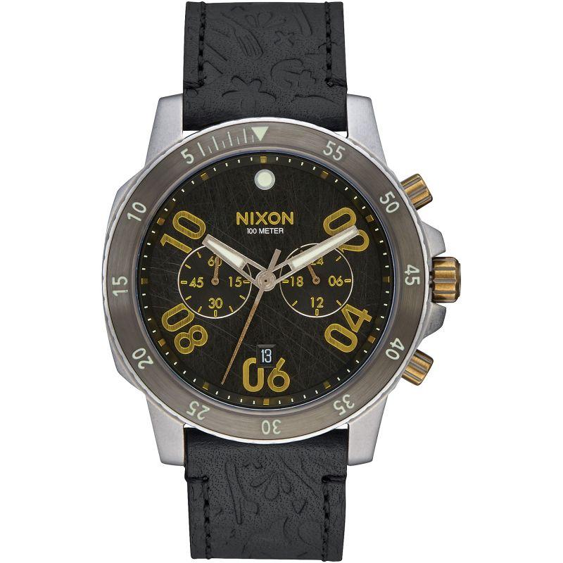 Mens Nixon The Ranger Chrono Leather Chronograph Watch