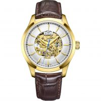 Herren Rotary Mecanique Skelett Automatik Uhr