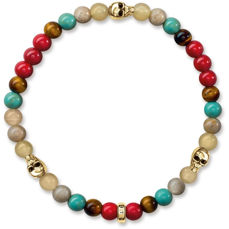 Thomas Sabo Sterling Silver COLOURFUL WITH SKULL GOLD BRACELET A1512-882-7-L17