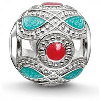 femme Thomas Sabo Jewellery Karma Beads Turquoise And Red Ethnic Bead Watch K0210-664-7