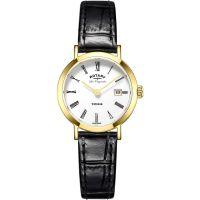 Damen Rotary Schweizer hergestellt Windsor Quarz Uhr