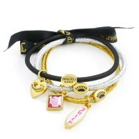 Ladies Juicy Couture Gold Plated Set Of 3 Charmy Hair Elastics