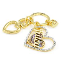 Ladies Juicy Couture Gold Plated Mother Of Pearl Heart Key Fob