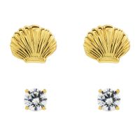 Juicy Couture Dames Seashell Stud Earrings Set Verguld goud WJW929-710-U
